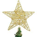 DERAYEE Christmas Tree Star Topper Decoration, Glittered Treetop Christmas Tree Decoration Seasonal Décor
