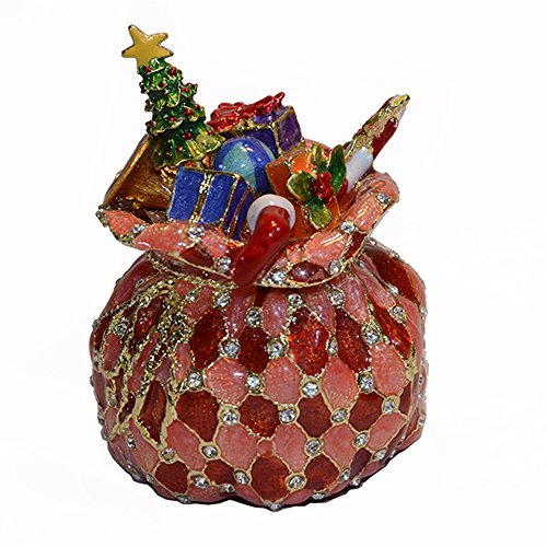 Santa's Bag Christmas Presents Crystal Jeweled Trinket Jewelry Box Christmas X'mas Gifts Decoration