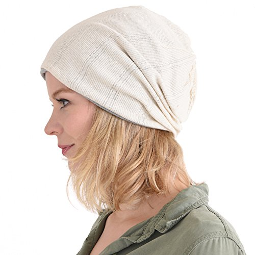 Charm Casualbox   Organic Cotton Knit Beanie Hat   Made In Japan Men Women Summer Winter Fashion Sensitive Skin Chemo Care Cancer Medical Natural Breathing Ivory