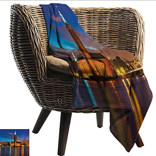 EwaskyOnline European Flannel Blanket Stockholm Scenic Night at City Hall Old Town Enchanted Town Sweden View Sofa Warm Bed 80