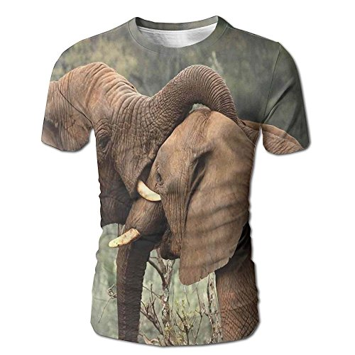 Edgar John Two Wild Savanna Elephants Wrestling Cute Nature Icons South African Animals Men's Short Sleeve Tshirt XL by Edgar John