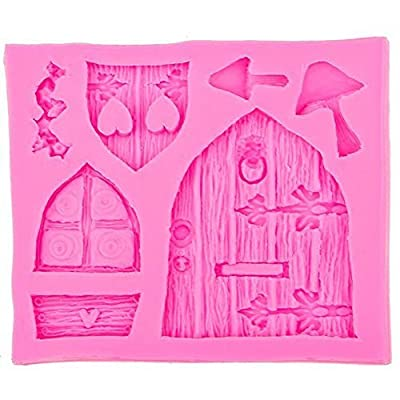 1 Piece Small Fairy Tale Cottage Window Door Pattern Silicone Bakeware Mold DIY Cake Decorating Tools Cooking Baking Mould for Fondant Biscuit Cookie Paste Chocolate