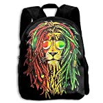 School 3D Printed Jamaica Rasta Lion Sun Glass Shoulder Backpacks Student Book Bag for Students Black