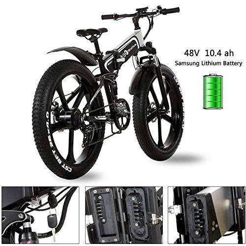 W Wallke 26 inch Folding Aluminum Electric Bike 48V 10.4ah Removable Battery Fat Tire Snow Mountain Bike 750W Beach Cruiser Adult Assisted E-Bike Double Disc Hydraulic Brake