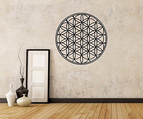 Personalized Gift Co Flower of Life Decal, Boho Decals, Vinyl Mandala Decal, Flower of Life Sticker, Mandala Decal, Seed of Life, Wall Decals, Geometric (36in, Black) ()