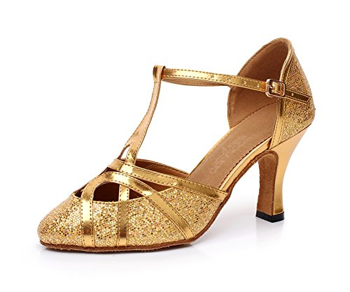 Minitoo QJ6133 Womens Closed Toe High Heel PU Leather Glitter Salsa Tango Ballroom Latin T-Strap Dance Shoes Gold-7.5cm Heel 7d7gsMDu