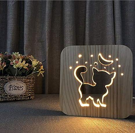 Lindo gatito 3D lámpara creativa mesa de madera lámpara usb lámpara regalo creativo