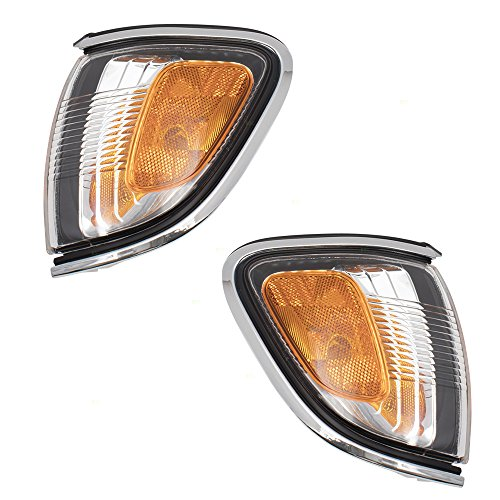 Pair Set Park Signal Corner Marker Lamps Lights w/Chrome Trim Replacement for 01-04 Toyota Tacoma Pickup Truck 8162004080 8161004080 AutoAndArt