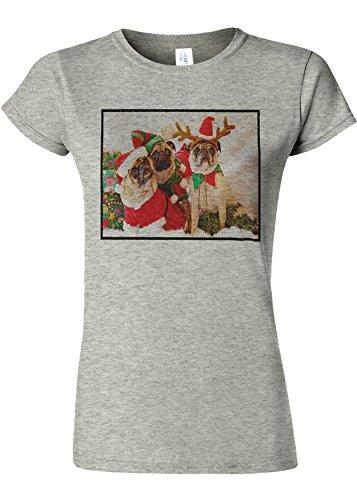 雄弁家排泄する自信があるChristmas Pug Santa Funny Novelty Sports Grey Women T Shirt Top-S