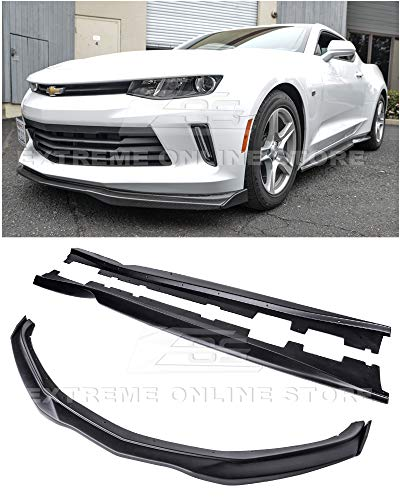 Rocker Panel End Cap - For 2016-2018 Chevrolet Camaro RS Models | EOS T6 Style ABS Plastic PRIMER BLACK Add On Front Bumper Lower Lip Splitter CARBON FIBER Side End Caps With Side Skirts Rocker Panel Pair