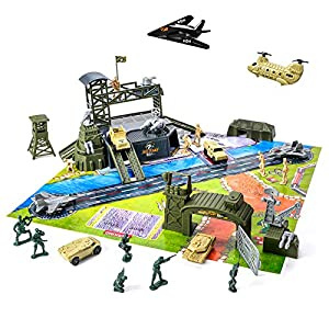 Best Epic Trends 51syAQAXU0L._SS300_ 47 Pieces Military Base Set, Army Men Playset with Vehicles Accessories,Soldier Army Men and Play Map,Mini Army Toy Tank…