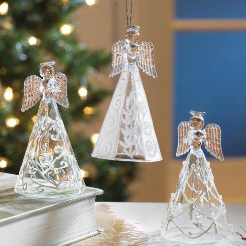 Glass Angel Bell Ornament - 1