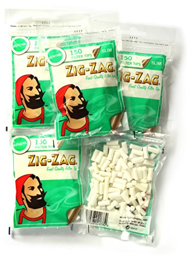 5 x Zig Zag SLIM MENTHOL Cigarette filter TIPS x 150 filters = 750 filters by Zig Zag