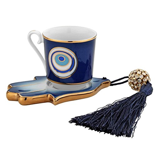 Evil Eye And Hamsa Hand Designed Porcelain Turkish Coffee Set (Arabic Dishes Set)