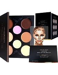 Youngfocus cream contour makeup-palette kit 8 colors cosmetics highlighting face contouring foundation concealer for hypoallergenic moisturizing light and breathable contour kit comprise contou