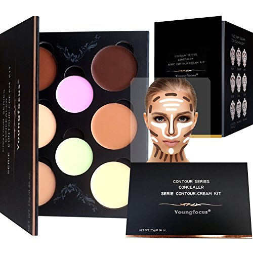 Youngfocus cream contour makeup-palette kit 8 colors cosmetics highlighting face contouring foundation concealer for hypoallergenic moisturizing light and breathable contour kit comprise contour by youngfocus