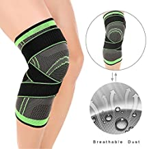 LOKEP Comfortable & Breathable Knee Brace Knee Compression Sleeve, 3-Dimensional Knit, Adjustable Compression Straps, 1 Piece for Men & Women Training Running Hiking Lifting Basketball (Green)