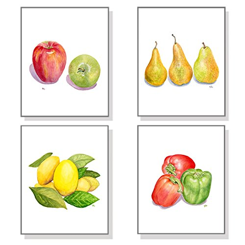 Fruit & Vegetable Art Prints Set of 4, Kitchen Wall Art Home Wall Decor