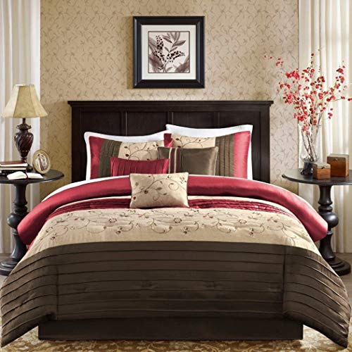 Red Brown White Comforter Set Queen, Bright Colored Pretty Romantic Kashmir Bedding Cute Sexy Floral Designs Beautiful Stripe Pattern ()