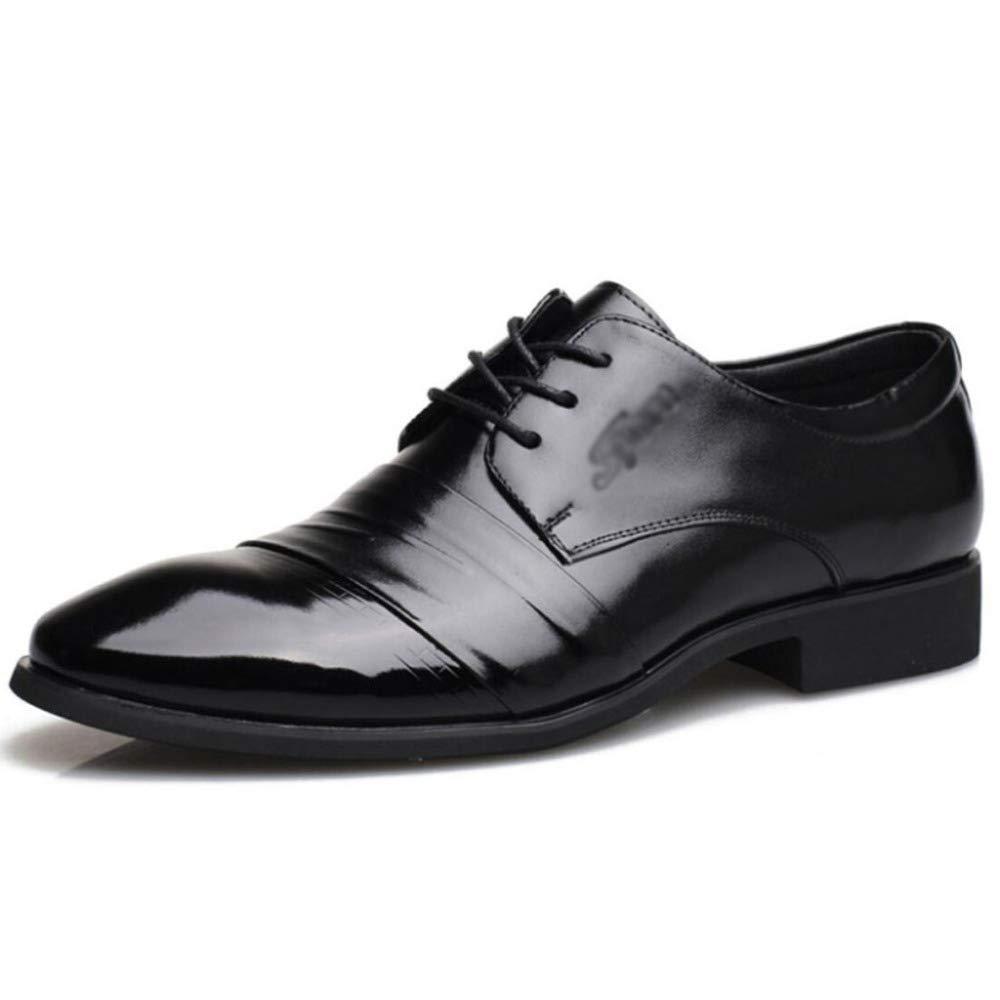 FCBDXN Geschäfts Formale Zehe Lederschuhe Herren Schnürschuh Runde Zehe Formale Schuh Komfortable Atmungsaktive Innen Partei Beiläufige Fußbekleidung schwarz 921078