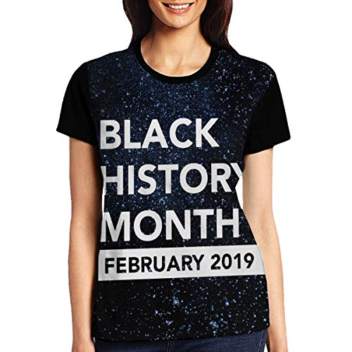 A-UYOP Women's 3D BHM-Header Print T-Shirt Short Sleeve Top Tees for Ladies and Girl 29 Black