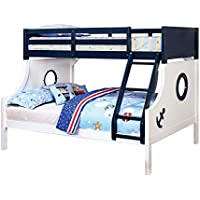 HOMES: Inside + Out ioHOMES Rancourt Nautical Bunk Bed, Twin/Full, Blue and White