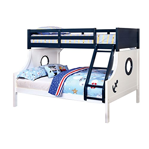 Nautical Bunk Bed, Twin/Full, Blue and White
