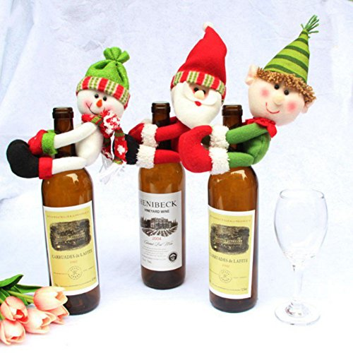 [EFINNY 3pcs/set Christmas Red Wine Bottle Cover Decor Santa Claus Snowman Wizard Dinner Party Bottle Ornaments] (Womens Homemade Snowman Costume)