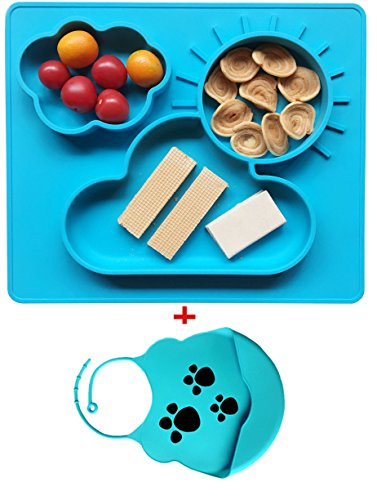 Extra Large Feeding Silicone Placemat and Tray, Bowls for Babies Kids Children,Safe Non-toxic Food Grade Silicone, Phthalate Free, Not Breakable, Easy Clearning, Portable with a silicone bib (blue) (Food Not Safe)
