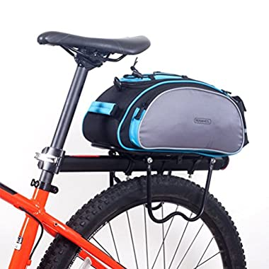 BlueTop Bicycle Back Seat Trunk Rack Tail Pouch Shoulder Handbag Tote Bag Pannier (Blue)