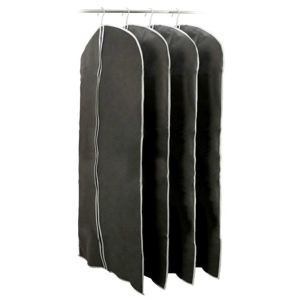 LINFON 4Pack Garment Bags Black Foldable Breathable Garment Suit Dress Jacket Coat Shirt Dust Cover Bag 401