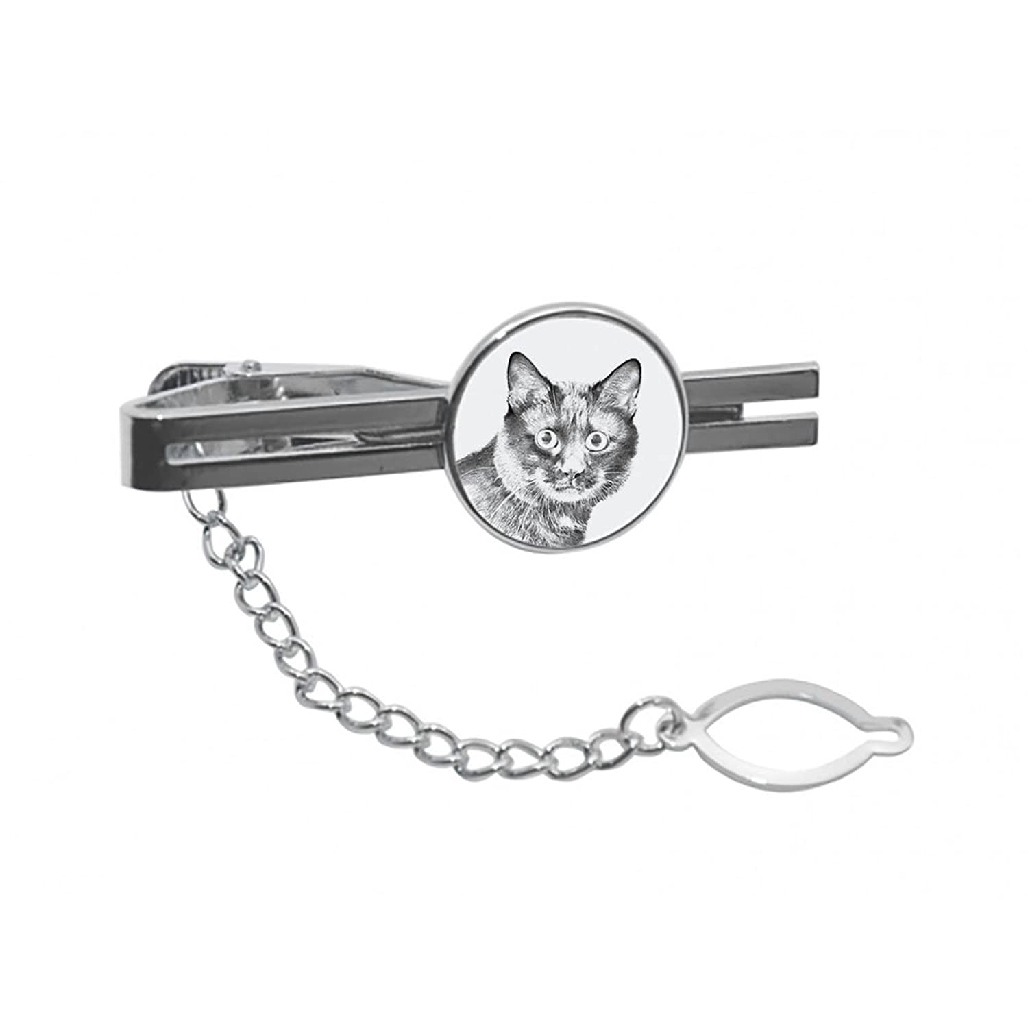 Kurilian bobtail, tie pin, clip with an image of a cat, elegant and casual style
