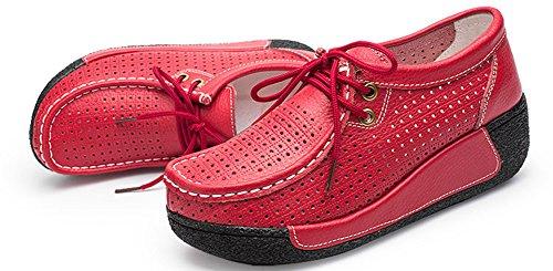 Femme Epais Talon À Baskets Mode Perforées Lacets Rouge Aisun zPwd4qYz