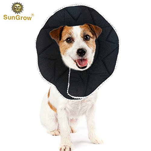 (Recovery Collar for Dogs --- Ultra Comfy post-surgery Cone - Prevents licking, scratching, or biting wounds - Soft, Comfortable, Adjustable Cone - Stylish, Black Collar with touch fastener Closures)