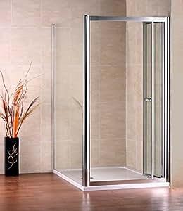 Mampara de ducha 2piezas Puerta plegable ducha puerta ducha pared 100x 70x 185cm (NS2–10+ NS3–70)