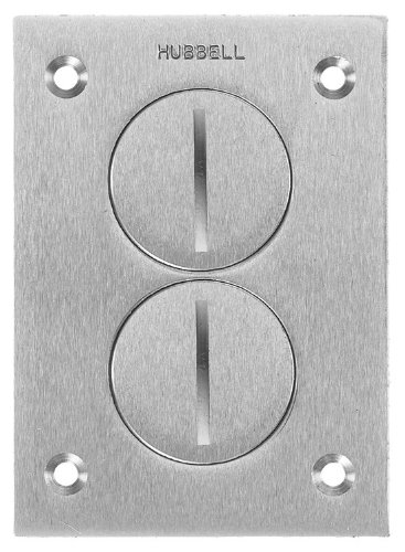 Hubbell Wiring Systems SA3625 Aluminum Round Floor Box Rectangle Duplex Screw Cover, 4-5/32'' Length x 2-63/64'' Width