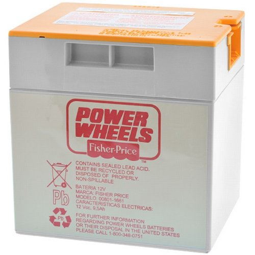 Power Wheels Battery, 12 Volt Gray with Orange Top
