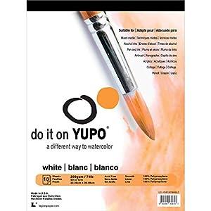 Yupo 100% Polypropylene Tape Binding Acid-Free Waterproof Watercolor Pad, 74 lb, 9 X 12 in, 10 Sheets, White