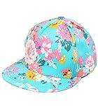 H-30110-54 Floral Flat Bill Snapback Hat - Mint