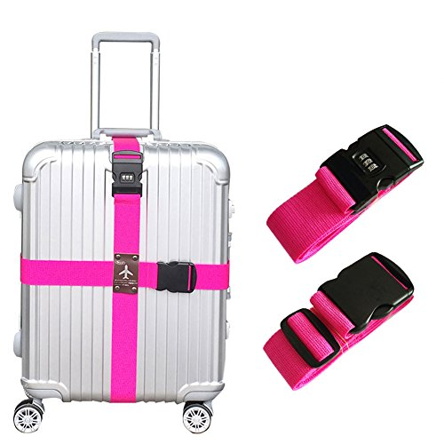 Heavy Duty Detachable Adjustable Long Cross Travel Luggage Strap Packing Belts Suitcase Bag Security Straps with 3-Dial Combination Lock, Rose Red ()