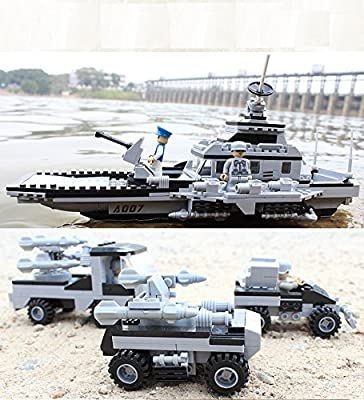 GENERIC Military Warship Series Building Blocks Set 8 in 1 Aircraft Carrier 743 pcs