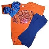 FanGarb Baby Girls Blue Rhinestone Football Outfit with Leg wamers & Bow (6-12mo, Orange)