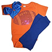 FanGarb Baby Girls Blue Rhinestone Football Outfit with Leg wamers & Bow (3-6mo, Orange)