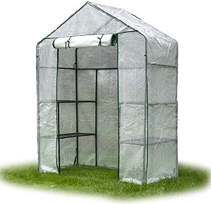Mini Invernadero Invernadero Invernadero Mini Invernadero con balcón Invernadero - Tienda de jardín para Plantas al Aire Libre 2 Niveles 4 Estantes, Soporte de Flores portátil Blanco: Amazon.es: Hogar