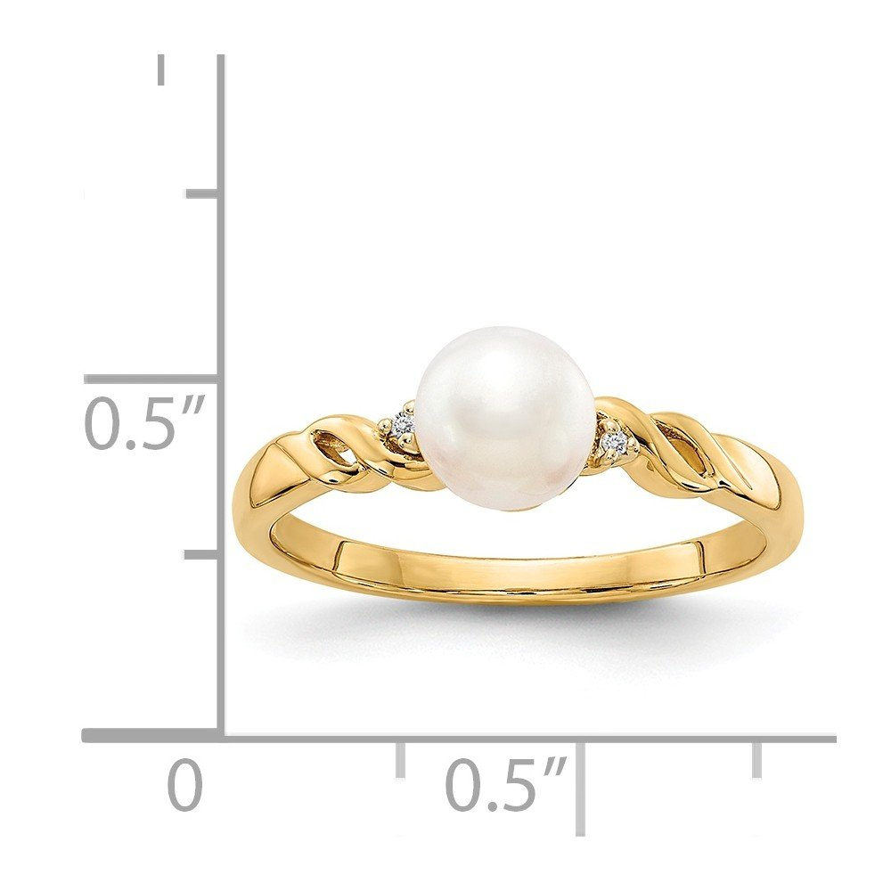 e79268e6b Amazon.com: Roy Rose Jewelry 14K Yellow Gold FW Cultured Pearl and Diamond  Ring - Size: 7: Jewelry