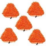 SHP-ZONE 5 packs Orange Washable Ultra Absorbant Heavy Duty Deluxe Coral Microfiber Pads compatible with T1 H20 H2O Steamboy Mop (Set of 5)