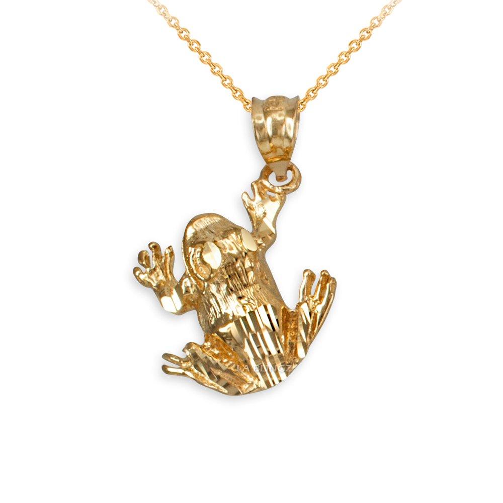 LA BLINGZ 10K Yellow Gold Frog DC Charm Necklace