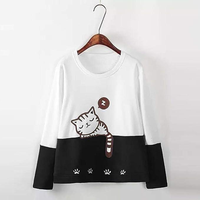 Otoño Sudadera para Mujer Gato Bordado Camiseta de Manga ...