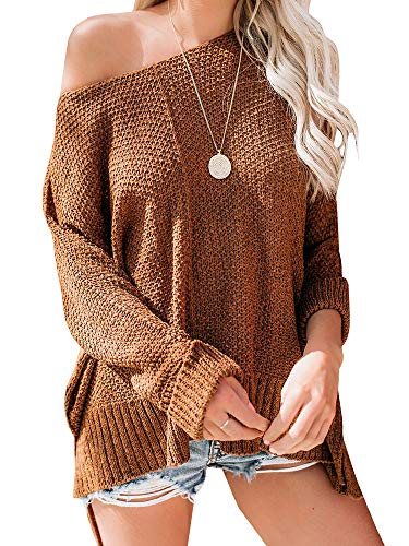 Yenlow Womens Off Shoulder Sweater Batwing Sleeve Loose Slit Oversized Pullover Knit Jumper Slouchy Tunic Tops