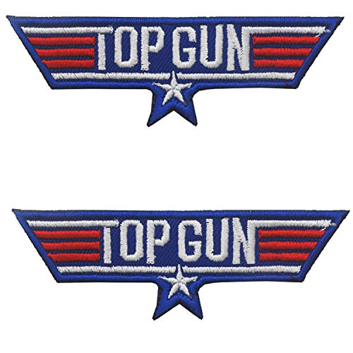 US Navy Air Force Top Gun Logo Embroidered Patches x 2